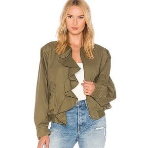 J.O.A Los Angeles Revolve Green Ruffle Jacket